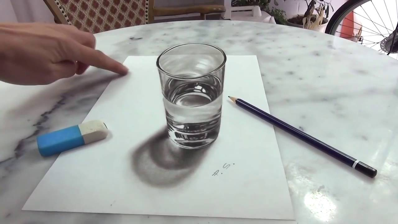 1280x720 3d Drawing A Realistic Glass Of Water Amazing Illusion Anamorphic