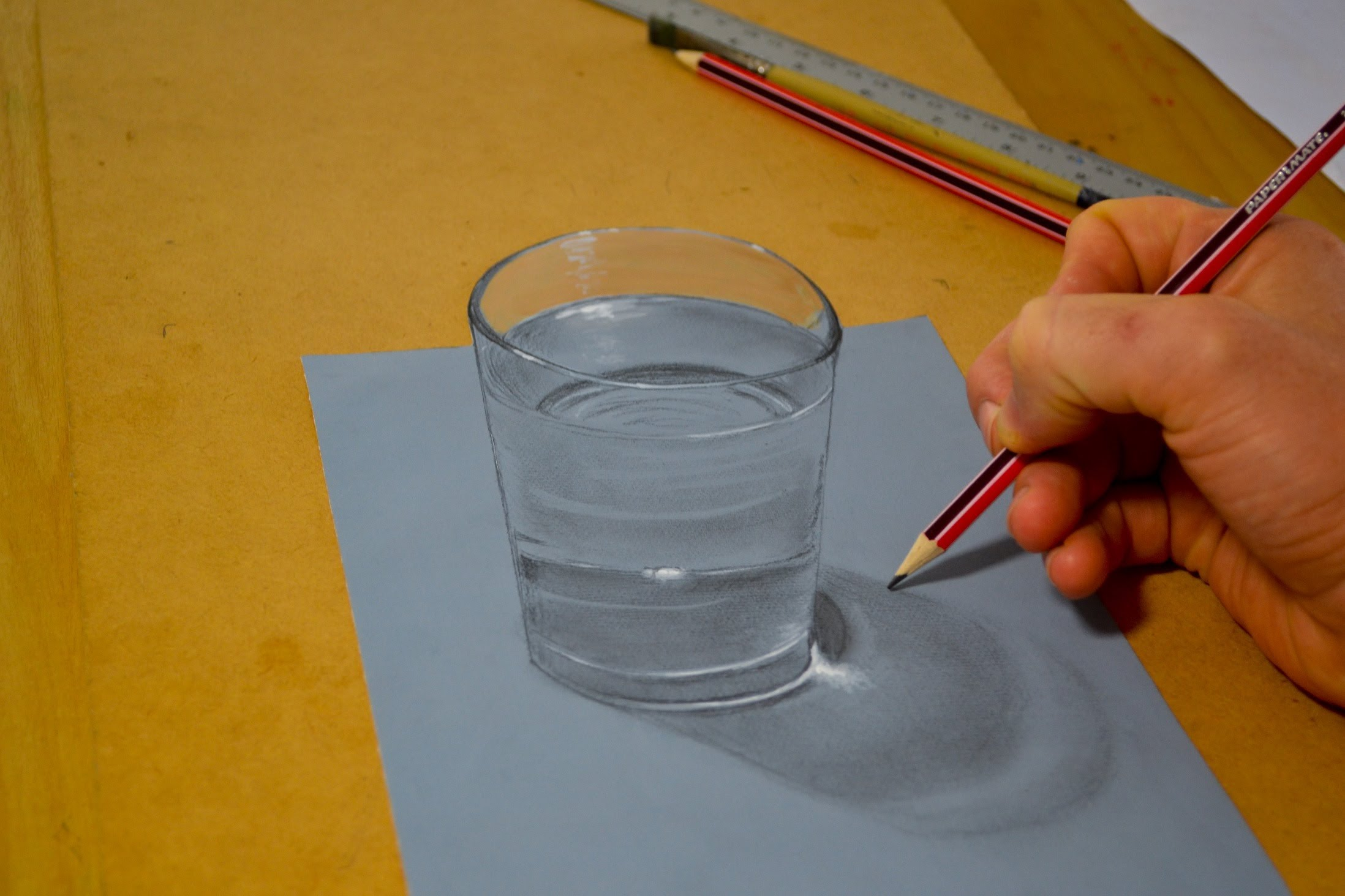2196x1464 3d Illusion, Drawing A Glass Of Water
