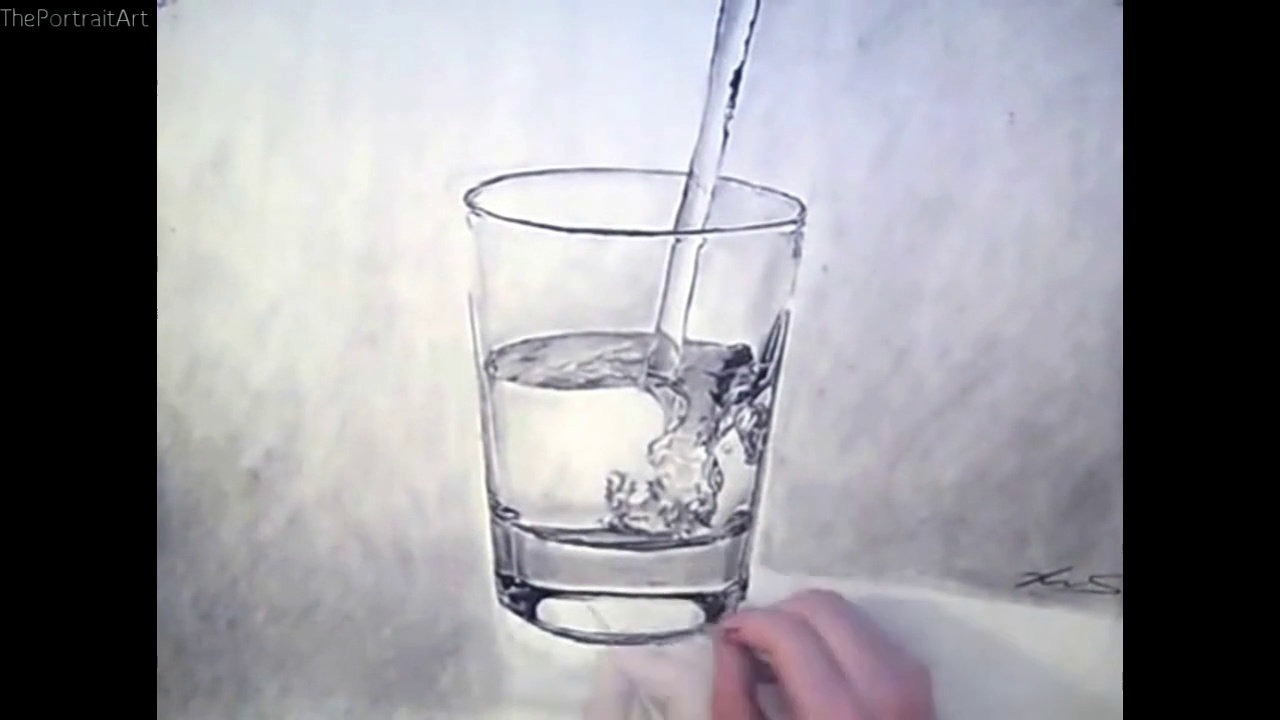 1280x720 Drawing Realistic Water Glass Timelapse