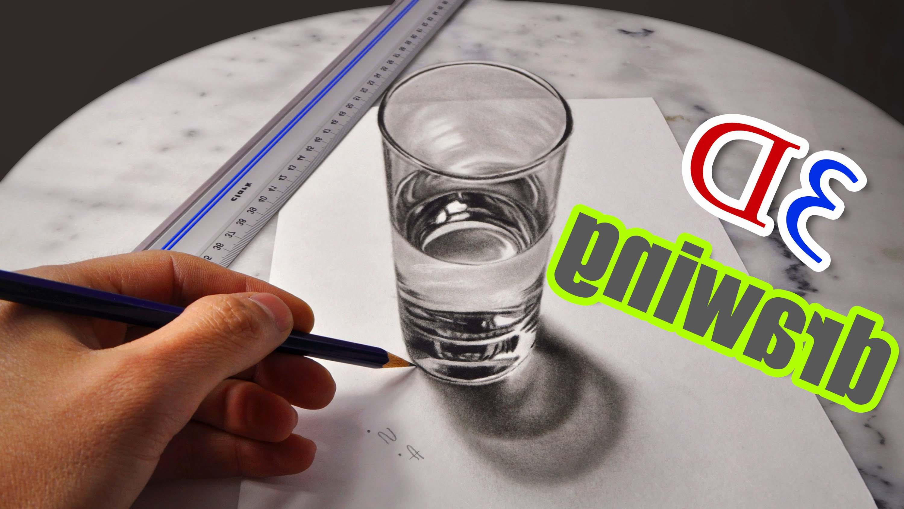 3000x1688 The Amazing 3d Drawings 3d Drawing A Realistic Glass Of Water