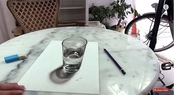 600x327 Video) Incredible Illusion! 3d Drawing Looks Like A Real Glass