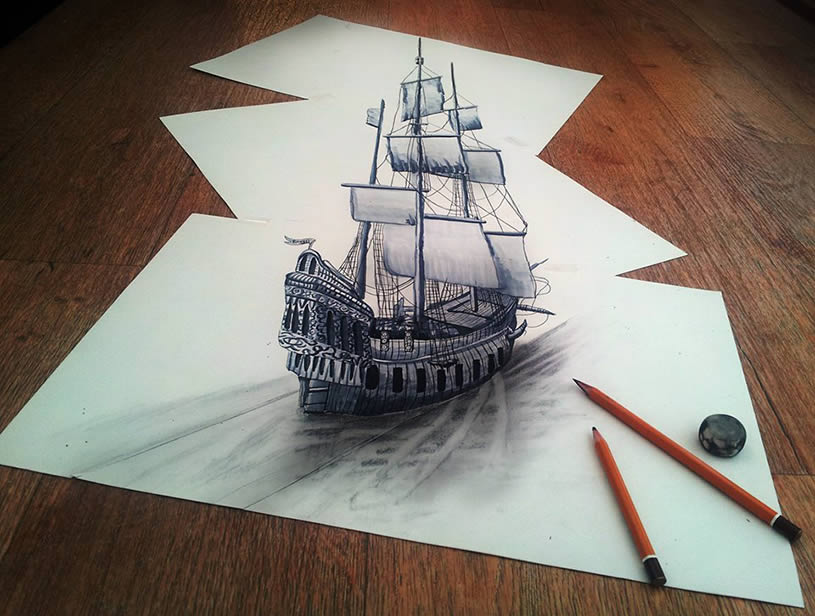 815x616 3d Ship Drawn On Three Flat Sheets Of Paper By Ramon Bruin Colossal