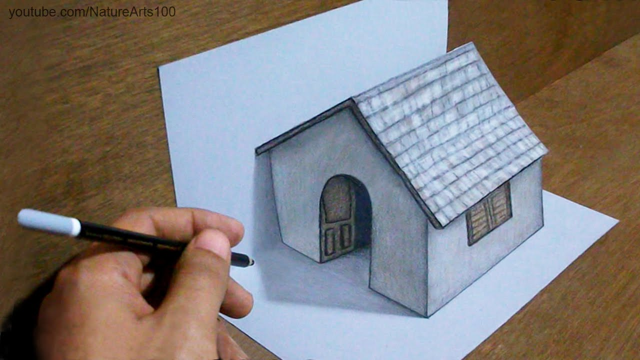 1280x720 trick art drawing 3d tiny house on paper