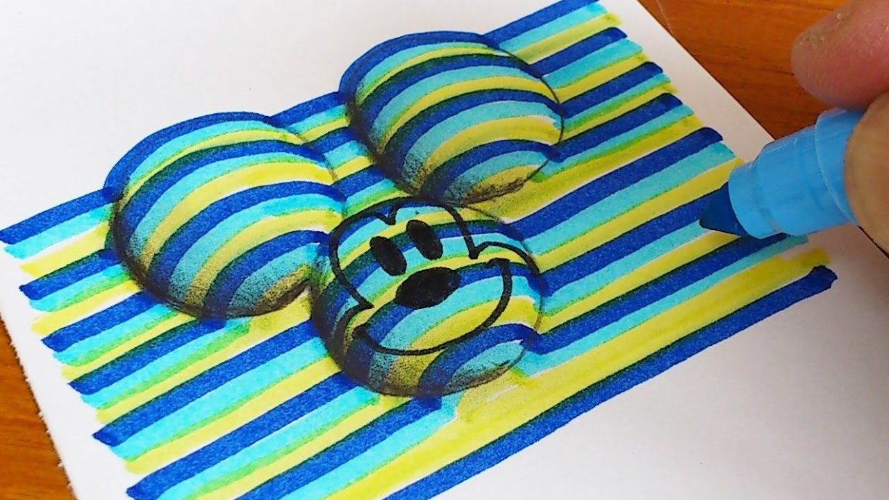1280x720 How To Draw 3d Mickey Mouse (Disney) Coloring Pages Learning