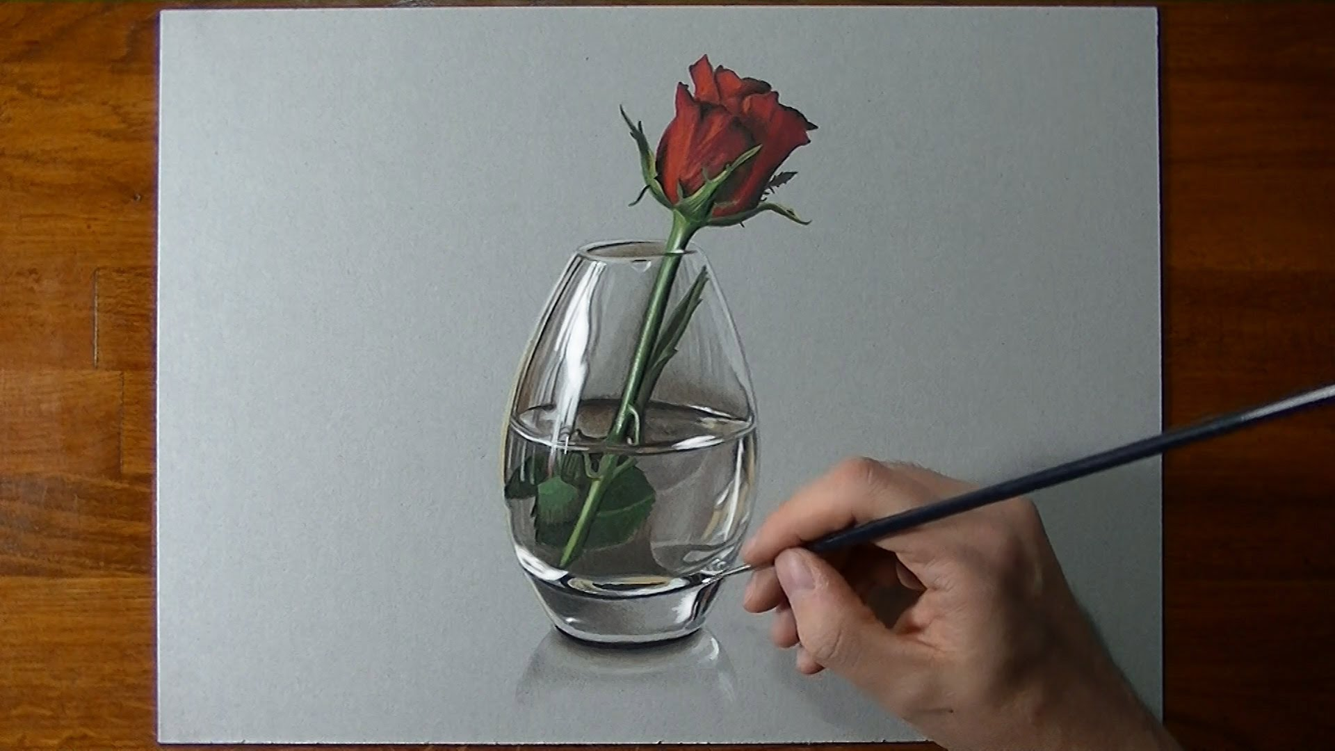 1920x1080 Drawing Time Lapse A Red Rose In Glass Vase