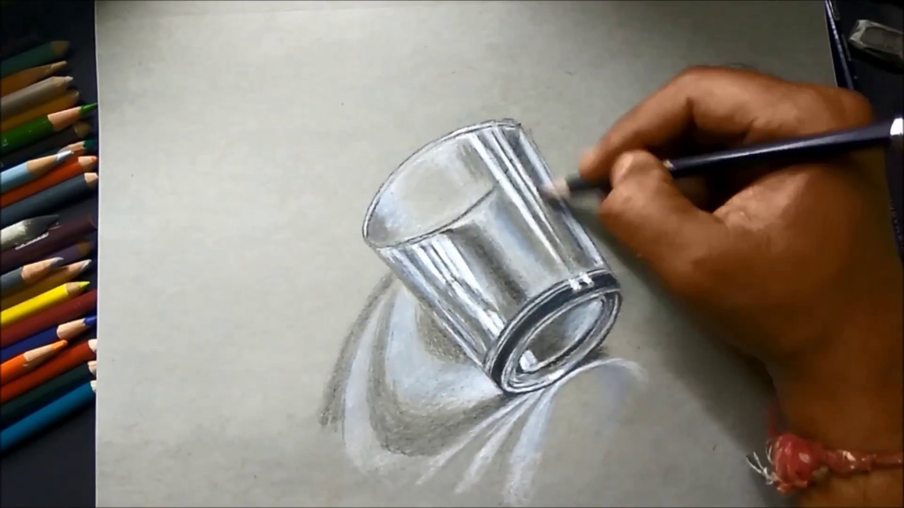 1280x720 How To Draw 3d Glass On Paper, Easy 3d Drawing Of Glass For Kids