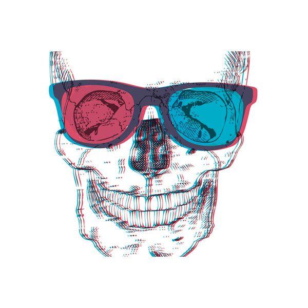 600x600 3dm Skull, Skeleton, Red And Blue, Glasses. Liked On Polyvore