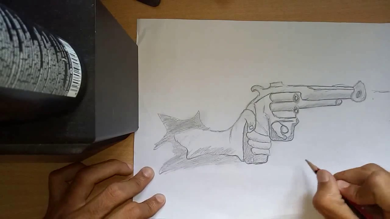 1280x720 How To Draw 3d Art On Paper Drawing 3d Gun With Pencil