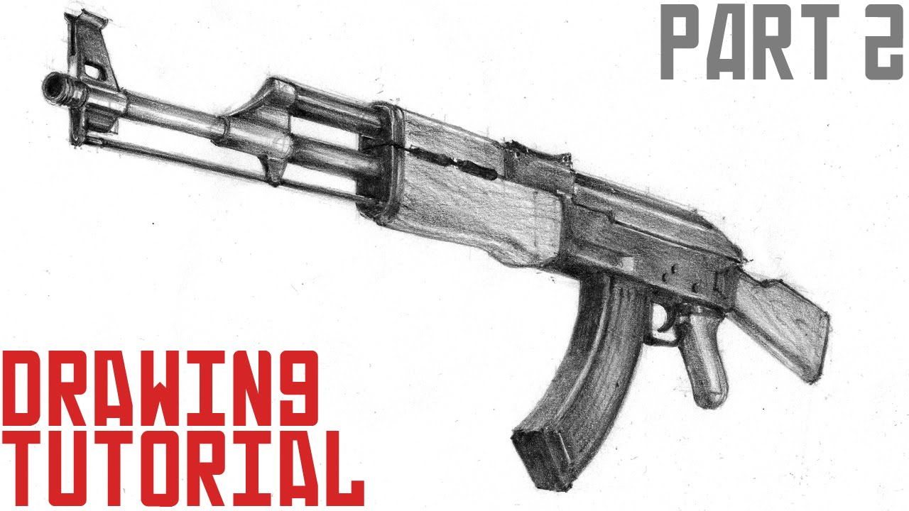 1280x720 How To Draw Ak 47 In 3d (Part 2)