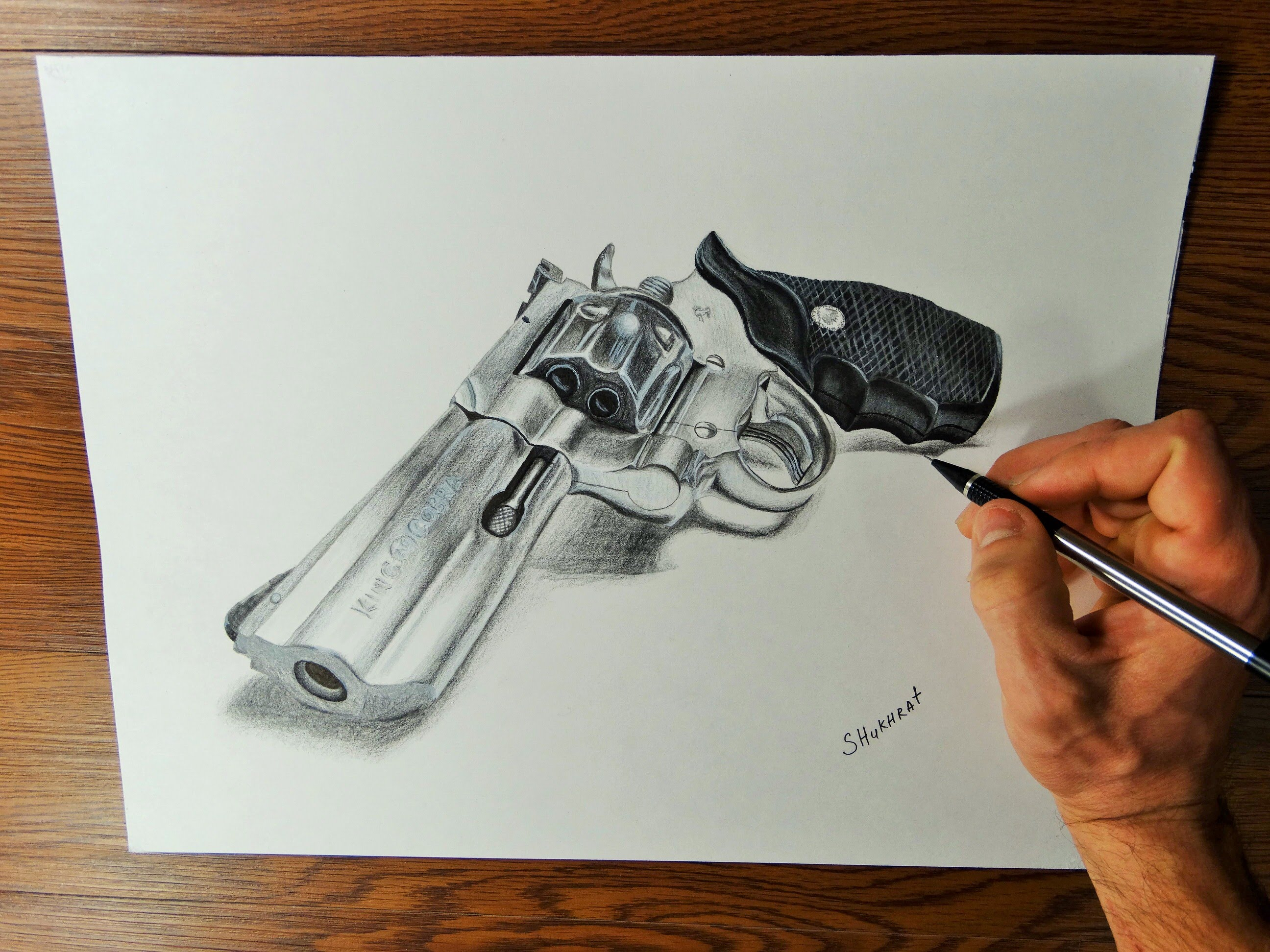 2592x1944 Time Lapse Drawing Video. How I Draw A Gun