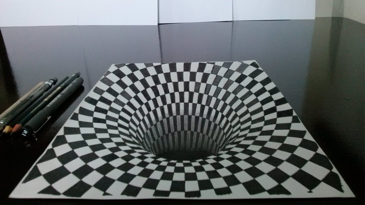 1280x720 Como Desenhar Um Buraco Em 3d (Drawing 3d Hole) 3d Illusion