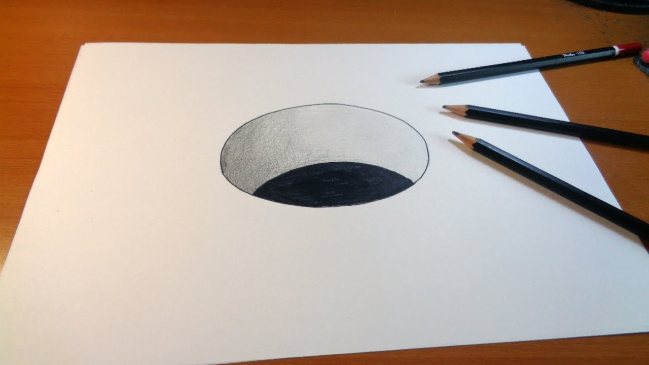 1280x720 Drawing 3d Hole, How To Draw 3d Hole For Kids