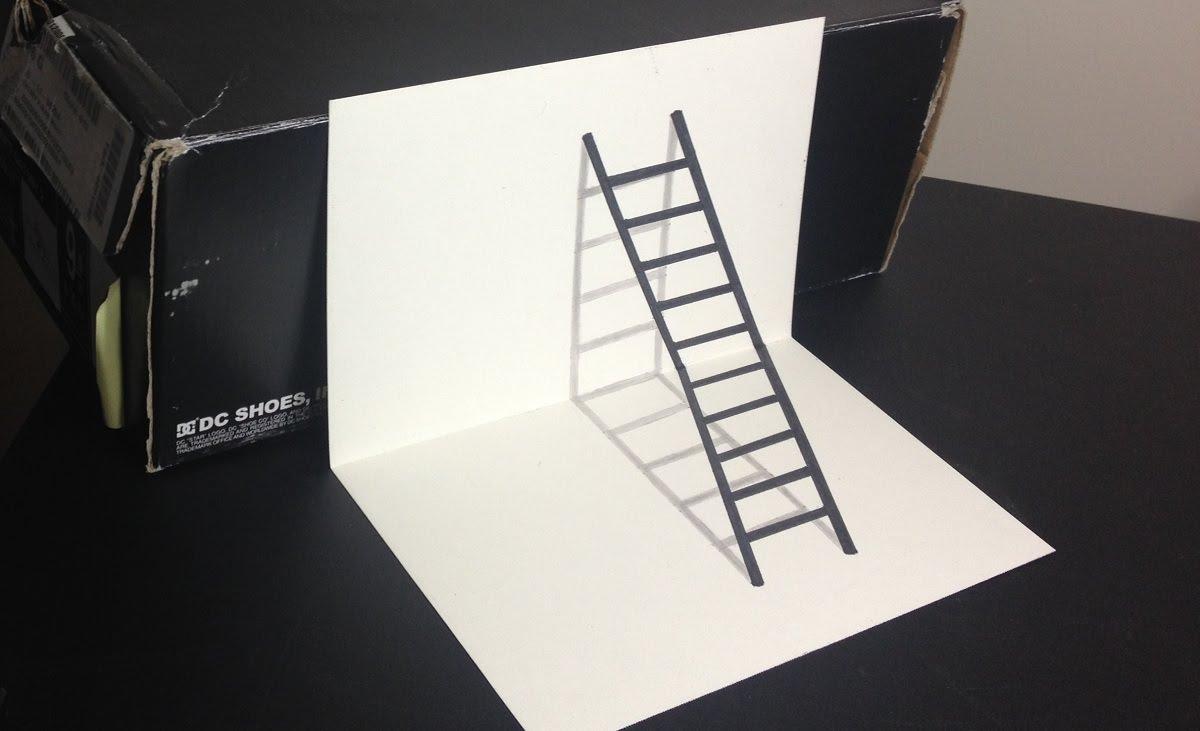 1200x731 3d Ladder Optical Illusion Drawing
