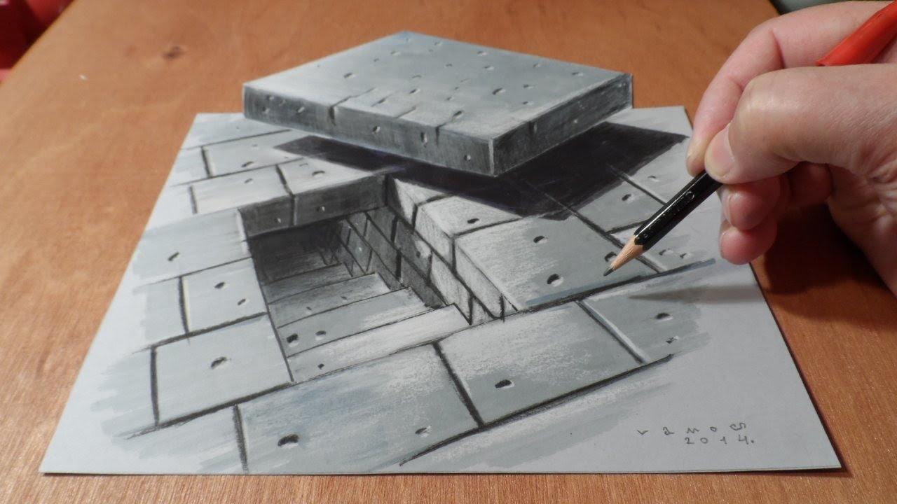 1280x720 Art 3d Drawing Tunnel Stairs, How To Draw Stairs, Artistic Graphic