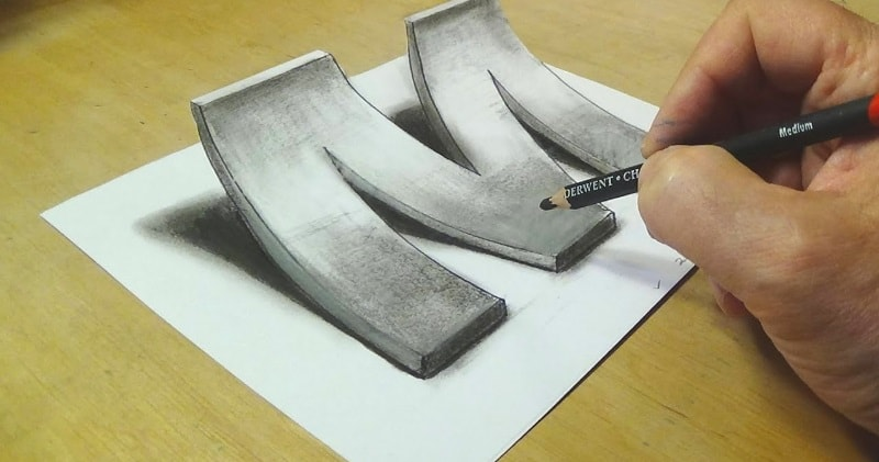 800x421 How To Draw 3d Letter M The Art Of Drawing Optical Illusions