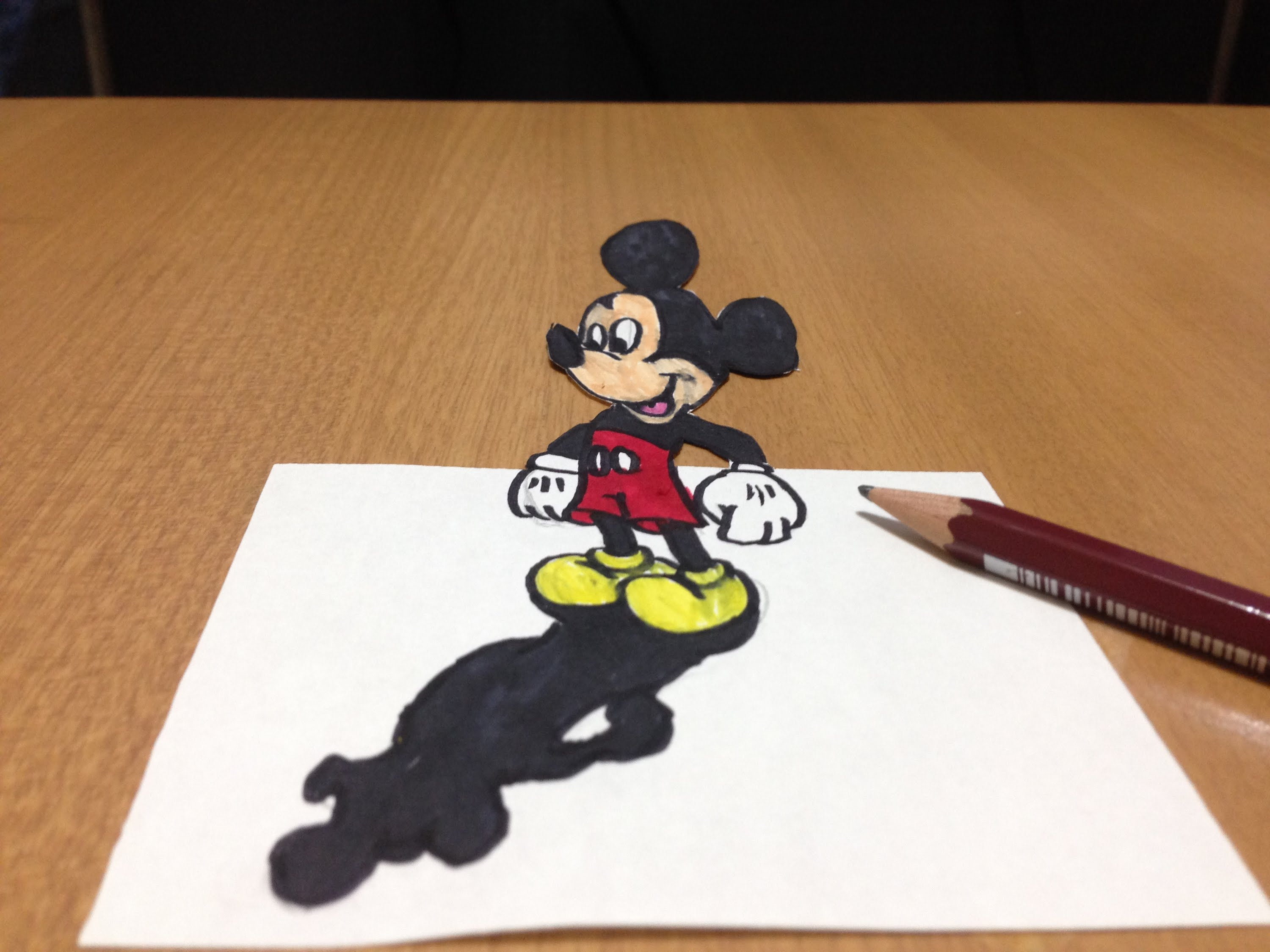 3000x2250 How I Draw 3d Mickey Mouse Trick Art, Time Lapse
