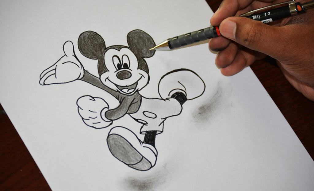 1024x623 How To Draw 3d Cartoons Step By Step Mickey Mouse Cartoon