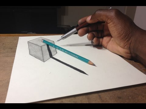 480x360 how to draw 3d cube with pencil illusion