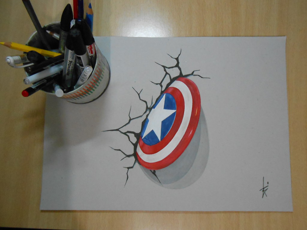 1024x768 drawing 3d shield captain america dr by dibujarteriestra on deviantart