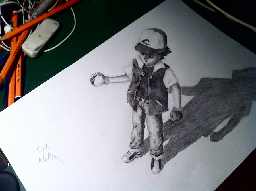 900x672 Ash From Pokemon Drawn In 3d Illusion Art
