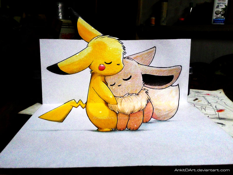 800x600 Pikachu And Eevee !!! (3d Drawing) By
