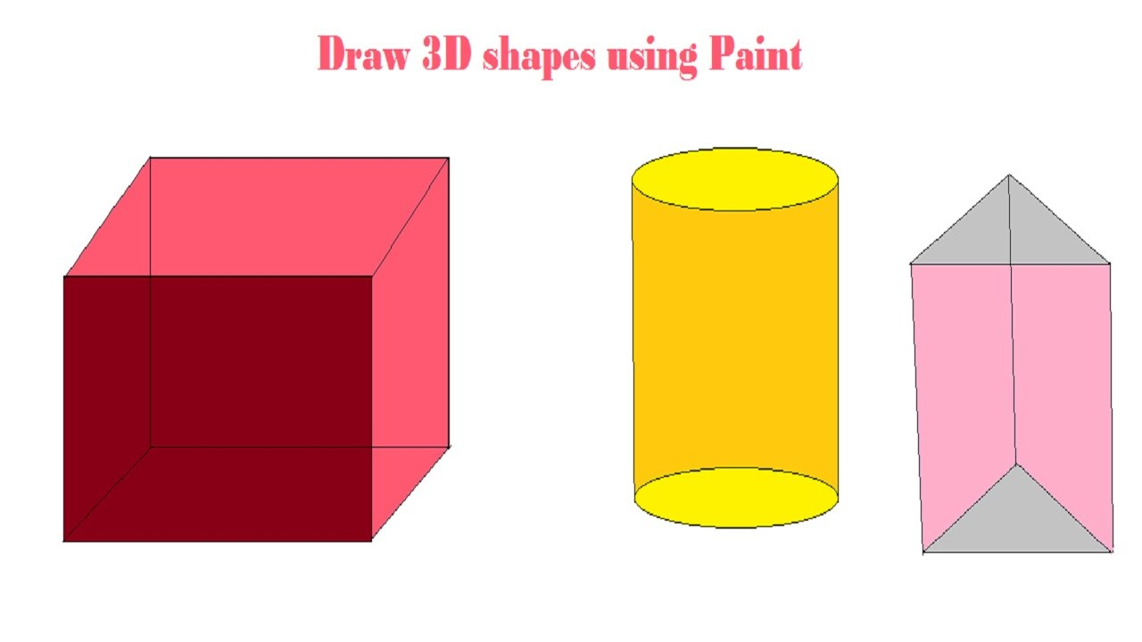 1280x720 3d Shapes 3d Drawing How To Draw 3d Shapes Using Paint