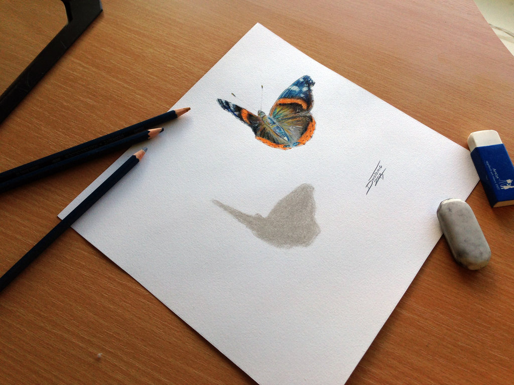 1024x768 Simple 3d Drawings Butterfly