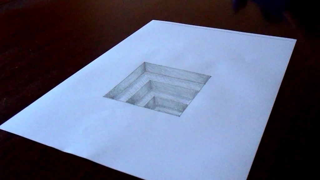 1024x576 Simple 3d Drawing The Original Amazing 3d Hole In Paper Drawing