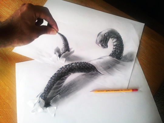 540x405 11 Fascinating Pencil Drawings Use Multiple Pages To Create 3d