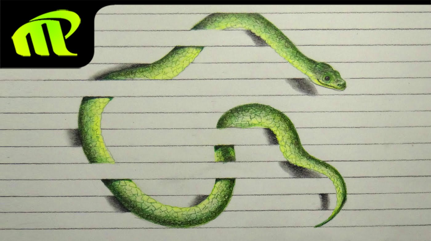 1400x783 3d Paper Illusion Snake Drawing