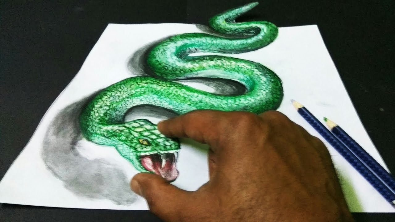 1280x720 Never Seen Before How To Draw 3d Snake On Paper Just 2 Min Diy