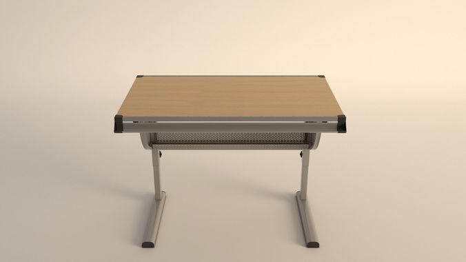 676x380 3d Model Drawing Desk