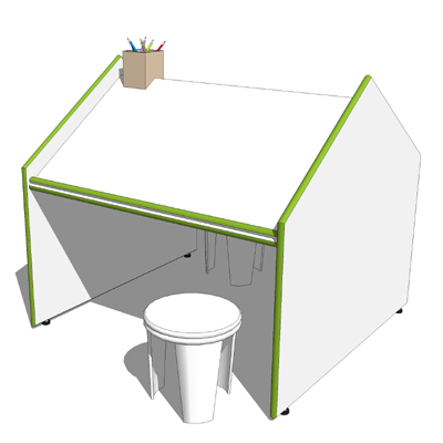 400x400 Childrens Drawing Table 3d Model