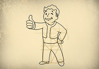 400x277 How To Draw Vault Boy From The Fallout Series Step By Step