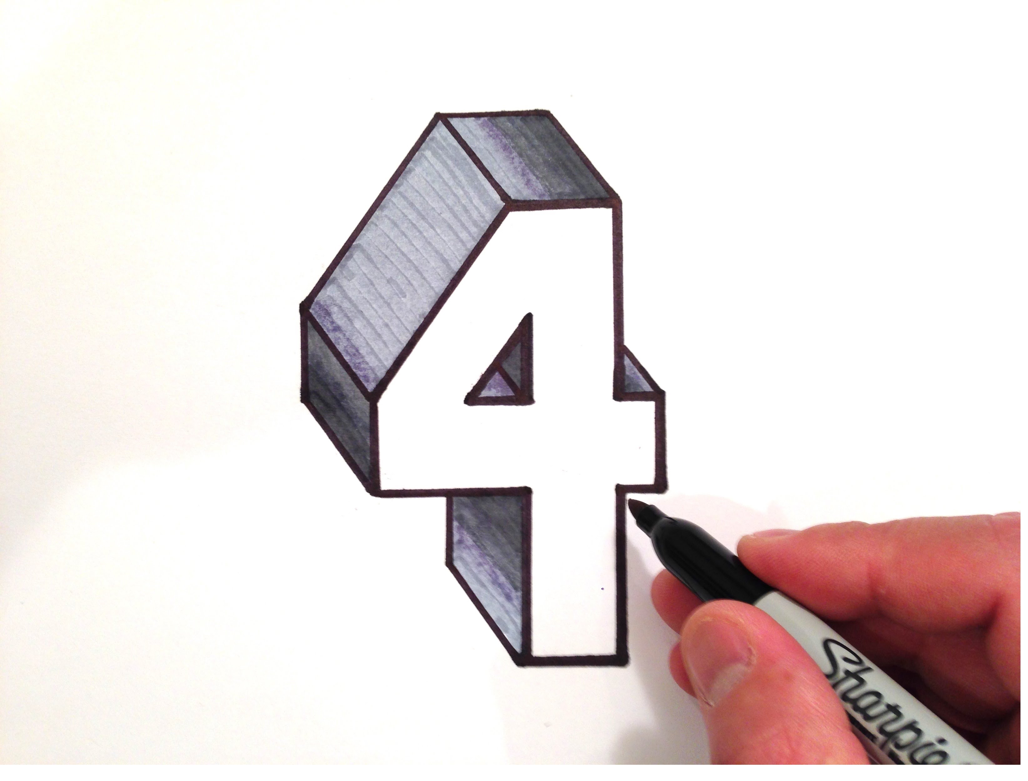 3288x2500 How To Draw The Number 4 In 3d
