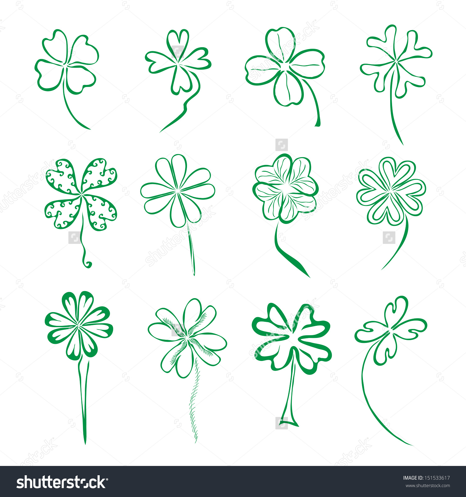 1500x1600 Drawing A Four Leaf Clover Set 12 Hand Drawn Decorative Four Stock