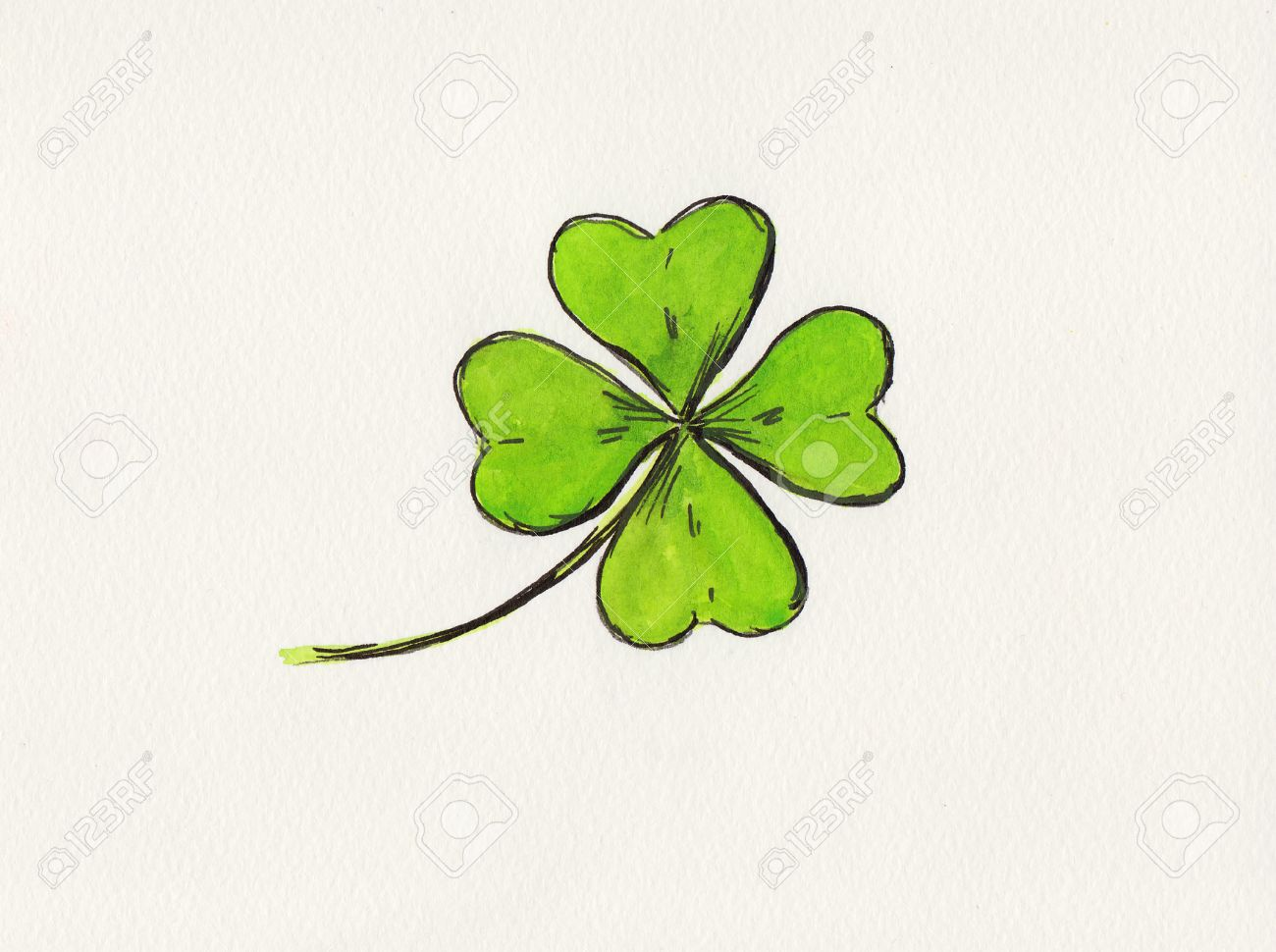 1300x970 Four Leaf Clover Drawing Stock Photo, Picture And Royalty Free