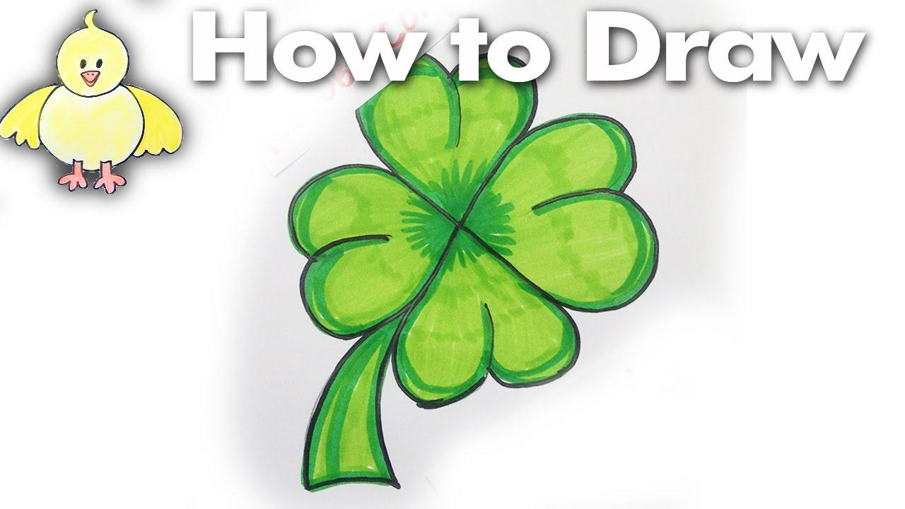 1280x720 How To Draw A Cartoon Shamrock 4 Leaf Clover Step By