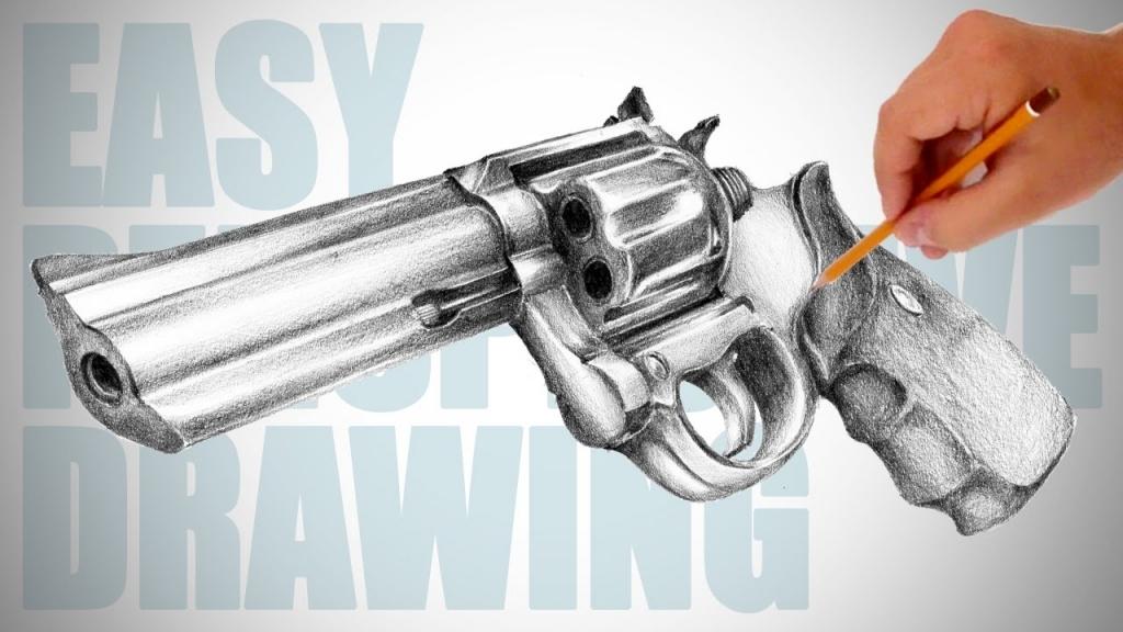 1024x576 Pencil Drawings Of Guns Learn How To Draw A 44 Magnum Gun Guns