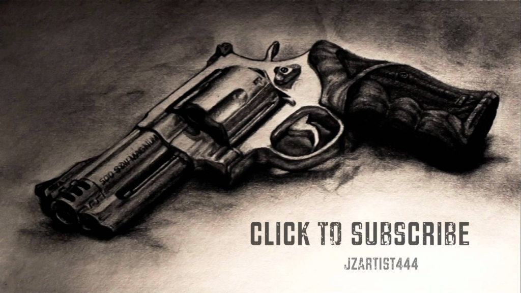 1024x576 Pencil Drawings Of Guns Realistic Magnum Drawing 5 Hours Youtube