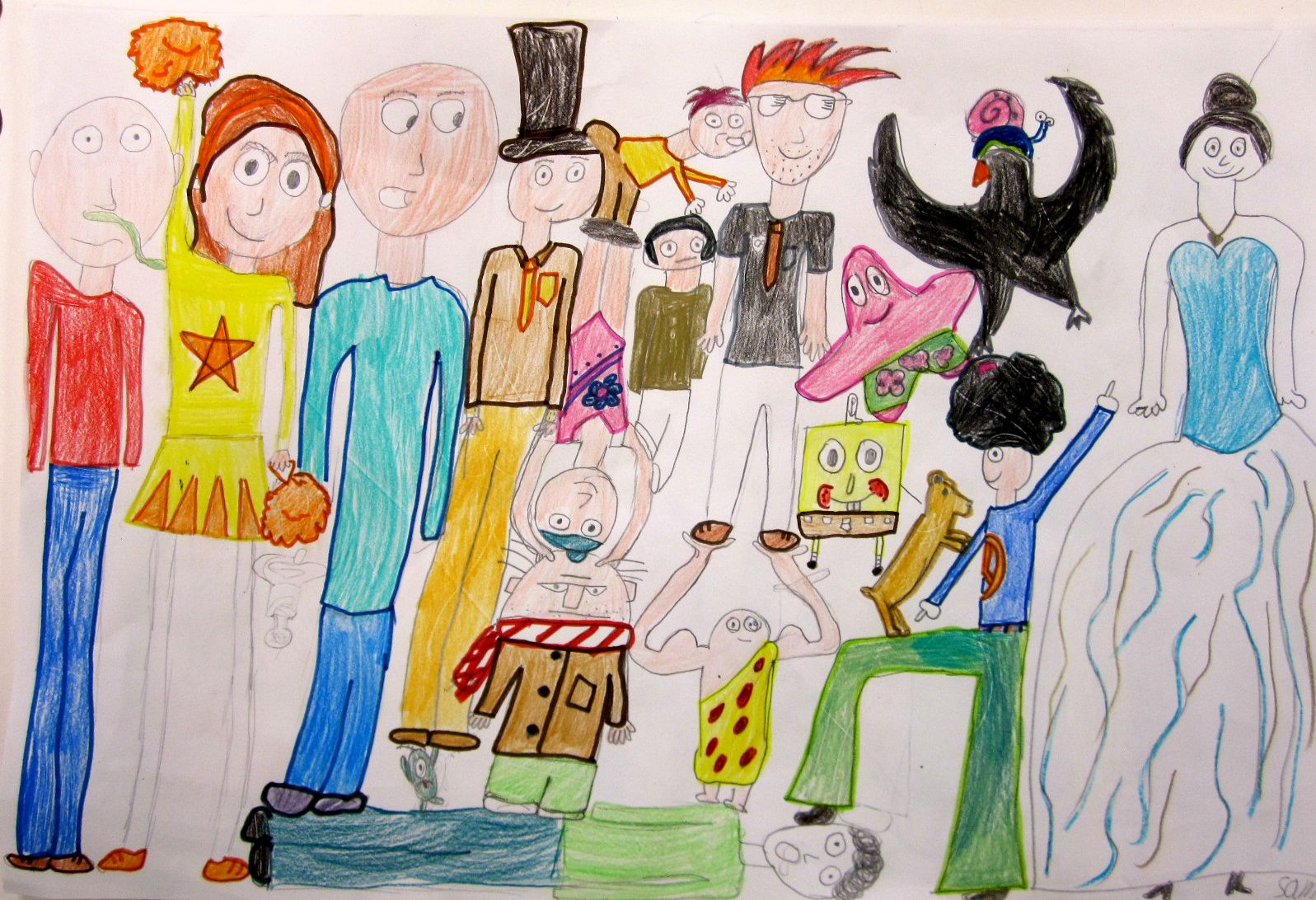 1597x1092 Fourth Grade Squished People Drawing 4th Grade Art