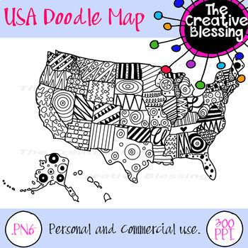 350x350 Usa Doodle Map America Printable Handout Map America, Doodles