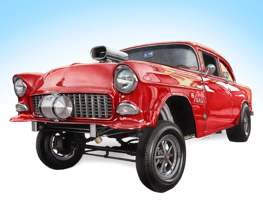 900x706 1955 Chevy Gasser Drawing By James Robert