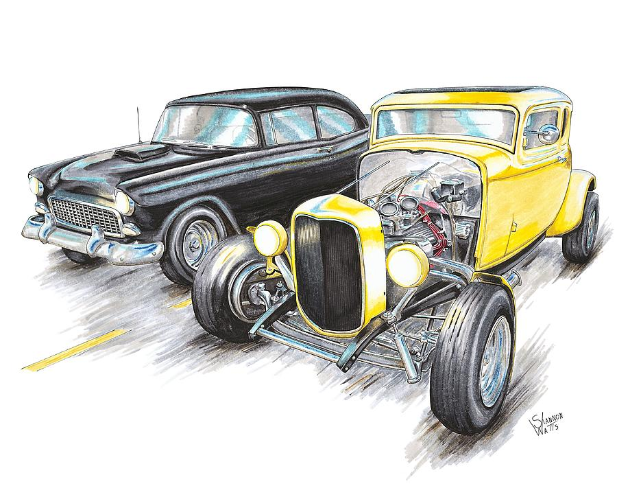 900x708 55 Chevy 32 Ford Racing Drawing By Shannon Watts