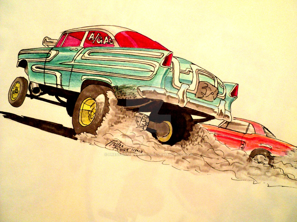 1024x768 55 Chevy Gasser Drawing By Prestonthecarartist