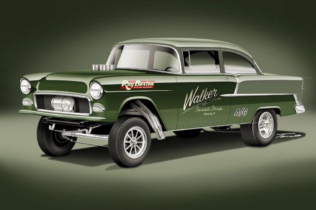 640x426 Gasser Style 1955 Chevy 210 Illustration