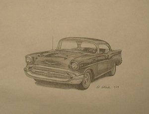 300x231 1957 Chevy Drawings Fine Art America