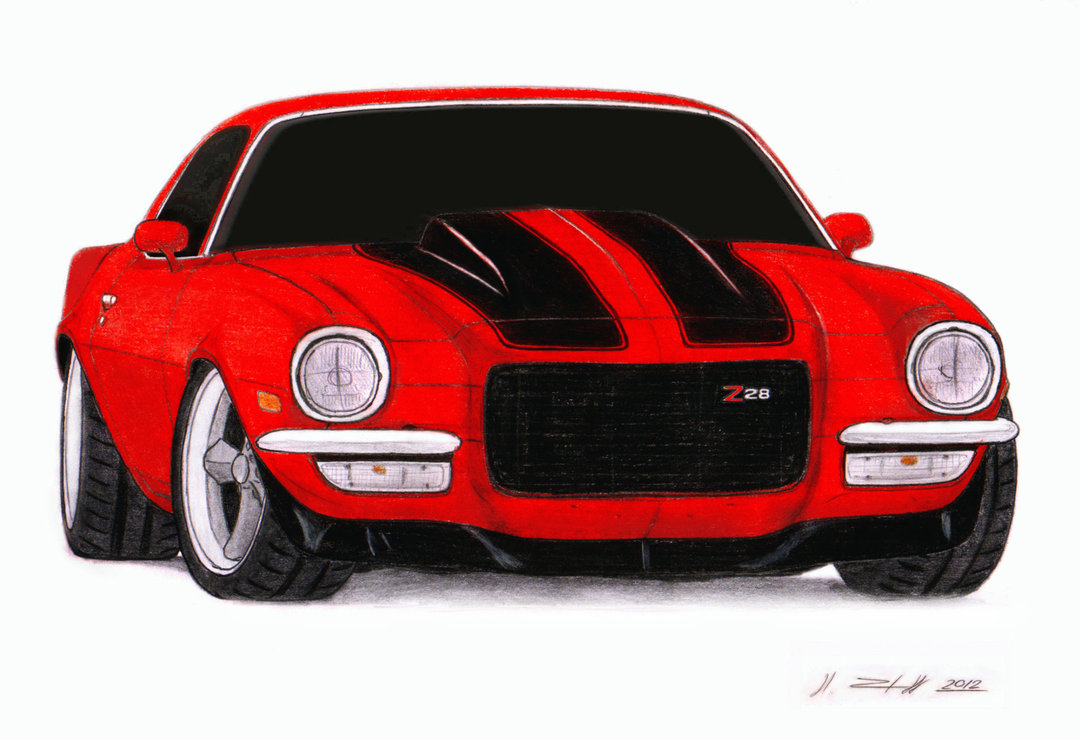 1080x740 1972 Chevrolet Camaro Z28 Pro Touring Drawing By Vertualissimo