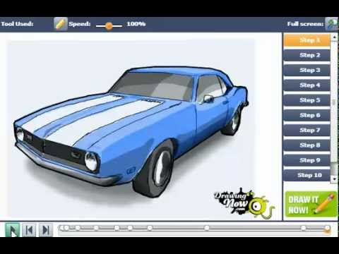 480x360 How To Draw Chevy Camaro Car