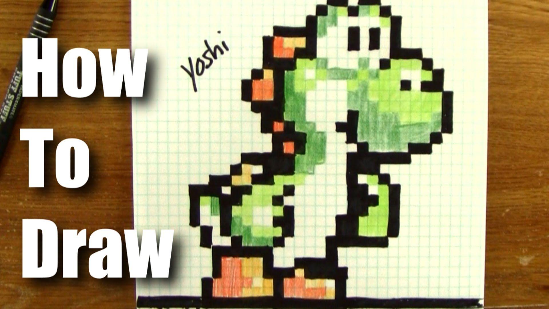 1920x1080 How To Draw 8 Bit Yoshi From Mario! 8 Bit Drawing